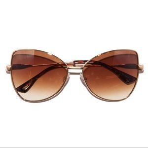 Retro 70s Honey Amber Ombré Metal Frame Sunglasses
